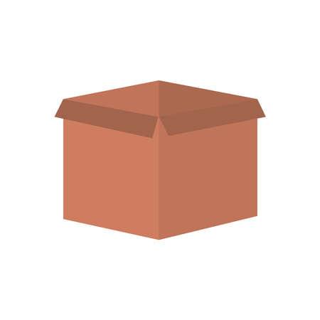 carton box icon over white background, flat style, vector illustration
