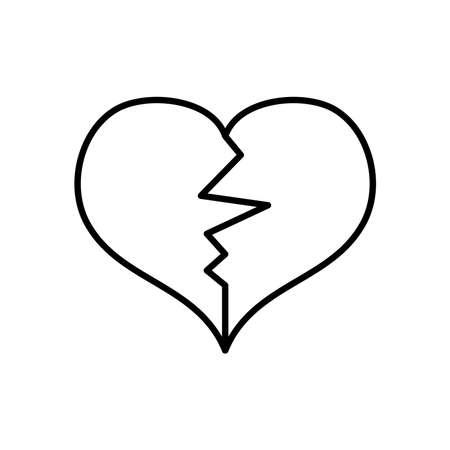 broken heart icon over white background, line style, vector illustration