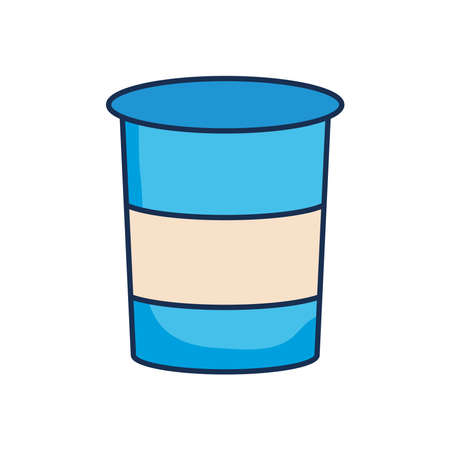 yogurt cup icon over white background, line fill style, vector illustration Illustration