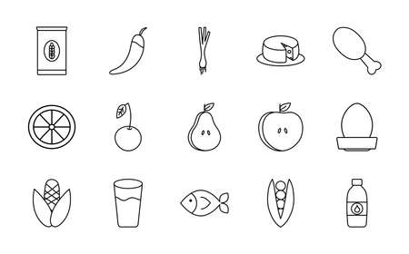 icon set of healthy food and fruits over white background, line style, vector illustration Illustration