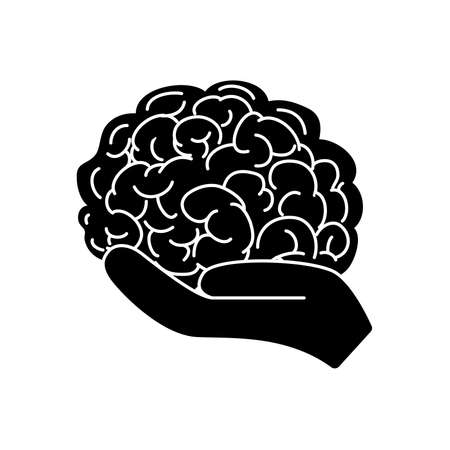 mental health concept, hand holding a brain icon over white background, silhouette style, vector illustration Vector Illustration