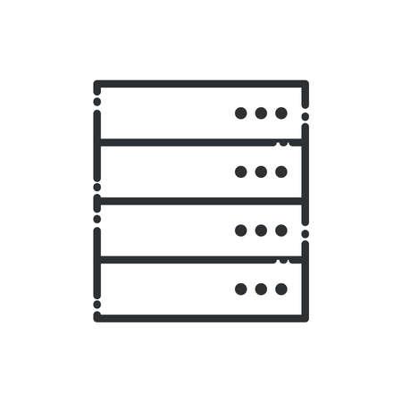 Web hosting line style icon design, Big data center base security system and hardware Vector illustration