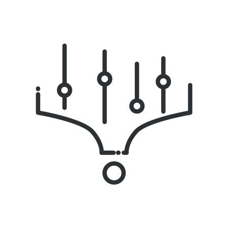 Big data circuit line style icon design, Web hosting center base security system and hardware Vector illustration Stock Illustratie