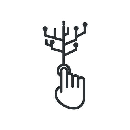 Hand cursor with circuit line style icon design, Big data web hosting center base security system and hardware Vector illustration