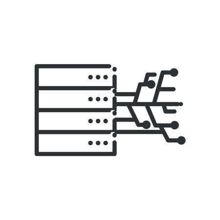 Web hosting with circuit line style icon design, Big data center base security system and hardware Vector illustration