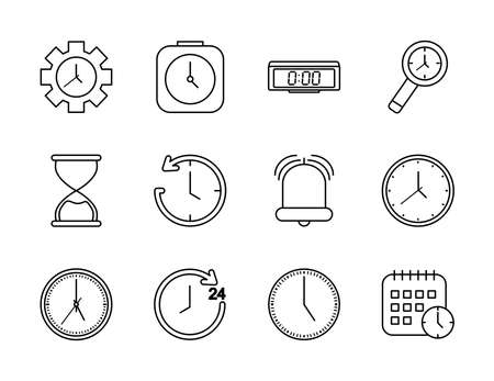 icon set of bell and time over white background, line style, vector illustration