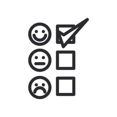 Options list with check mark and emojis line style icon design, Questionary survey and exam theme Vector illustration