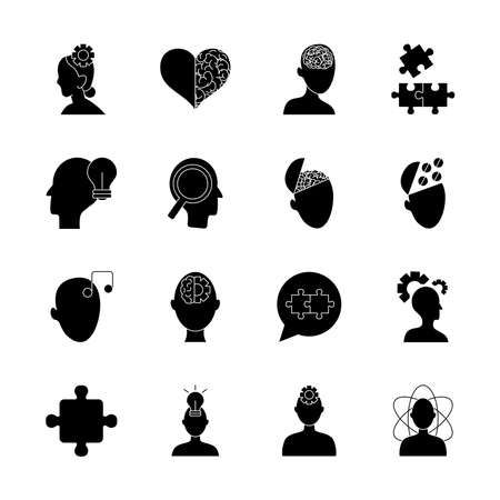 heads and mental health icon set over white background, silhouette style, vector illustration