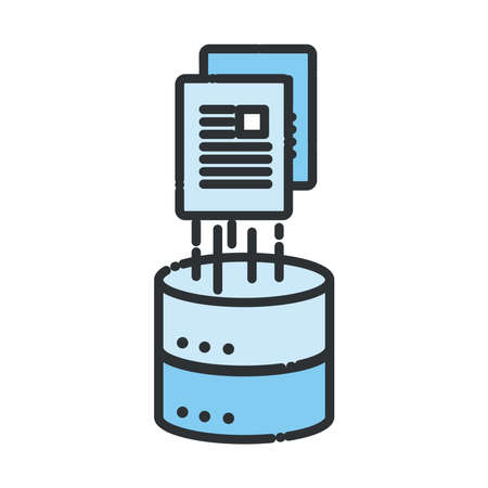 Web hosting with document line and fill style icon design, Big data center base security system and hardware Vector illustration