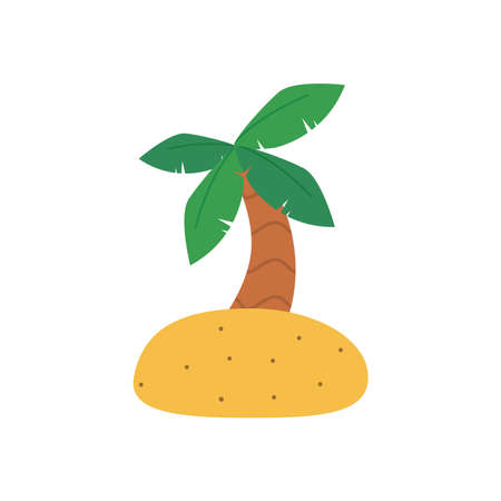 Palm tree flat style icon design, Beach summer vacation tropical relaxation outdoor nature tourism relax lifestyle and paradise theme Vector illustration