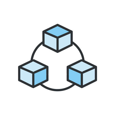 Cubes circuit line and fill style icon design, Big data web hosting center base security system and hardware Vector illustration