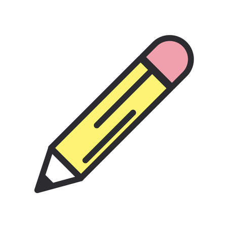 Pencil line and fill style icon design, Tool write office object instrument equipment draw art and learn theme Vector illustration 矢量图像
