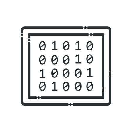 Big data code numbers line style icon design, Web hosting center base security system and hardware Vector illustration Stock Illustratie