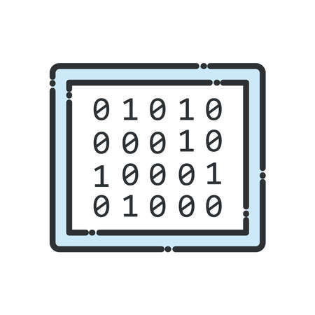 Big data code numbers line and fill style icon design, Web hosting center base security system and hardware Vector illustration