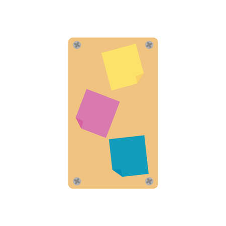 board with sticky notes icon over white background, flat style, vector illustration Illustration