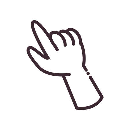 pointing gesture with hand line style icon design of People arm finger person learn communication healthcare theme Vector illustration