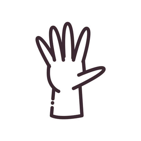 open gesture with hand line style icon design of People arm finger person learn communication healthcare theme Vector illustration