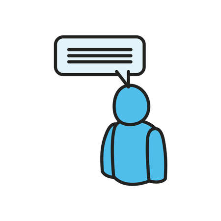 Avatar with communication bubble line and fill style icon design, Message discussion conversation and chatting theme Vector illustration
