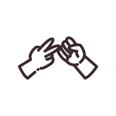 scissor and rock gesture with hands line style icon design of People arm finger person learn communication healthcare theme Vector illustration