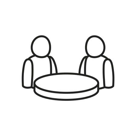 Avatars at table line style icon design of Person profile social communication and human theme Vector illustration Ilustracja