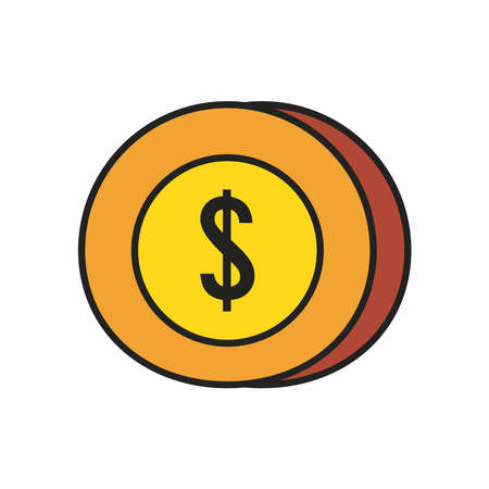euro coin line and fill style icon of money financial banking commerce and market theme Vector illustration Ilustracja