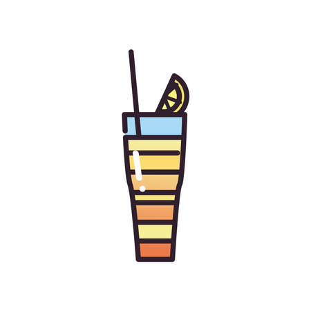 Cocktail glass with straw and lemon fill and gradient style icon design, Alcohol drink bar and beverage theme Vector illustration