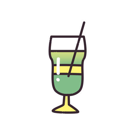 Cocktail glass with straw fill and gradient style icon design, Alcohol drink bar and beverage theme Vector illustration Ilustracja