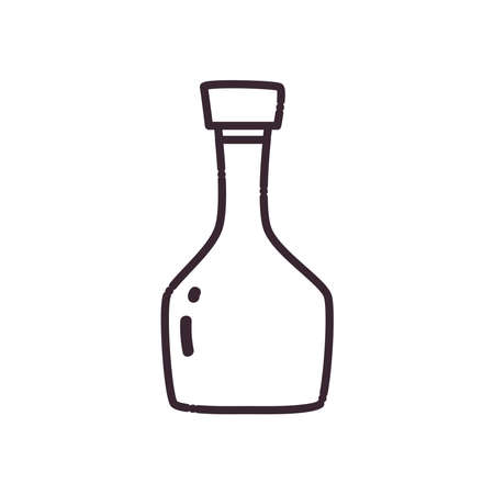 alcohol bottle line style icon design, drink bar and beverage theme Vector illustration