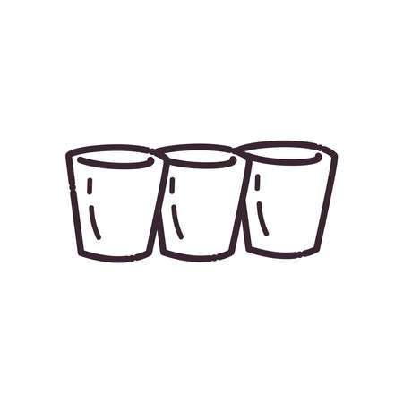 shots glasses line style icon design, Alcohol drink bar and beverage theme Vector illustration