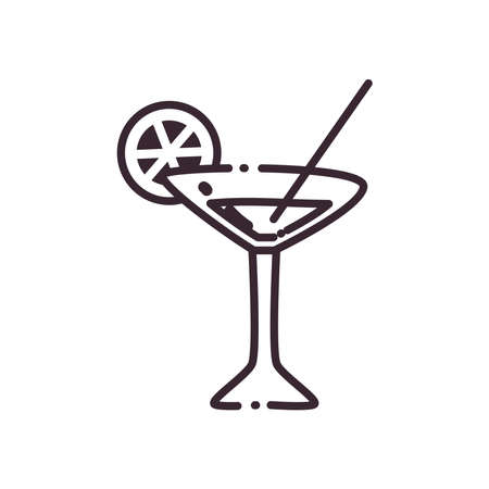Cocktail glass cup with lemon and straw line style icon design, Alcohol drink bar and beverage theme Vector illustration Ilustracja