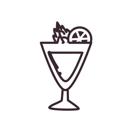 Cocktail glass cup with lemon and leaf line style icon design, Alcohol drink bar and beverage theme Vector illustration