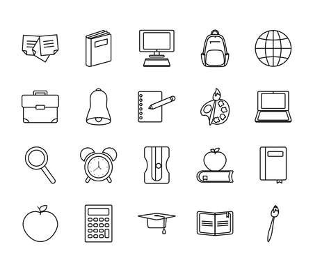 apple and back to school icon set over white background, line style, vector illustration