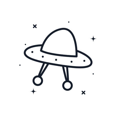 ufo line style icon of Space futuristic cosmos and universe theme Vector illustration