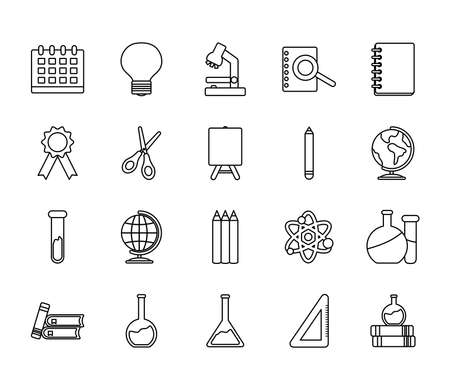 icon set of academic books and back to school over white background, line style, vector illustration