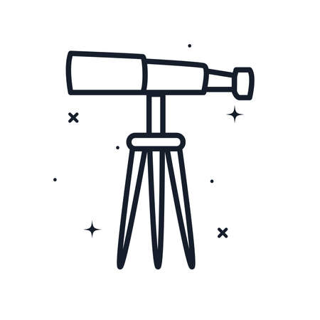 telescope line style icon of Space futuristic cosmos and universe theme Vector illustration