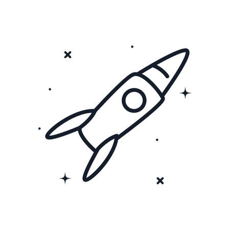Rocket line style icon of Space futuristic cosmos and universe theme Vector illustration Ilustracja