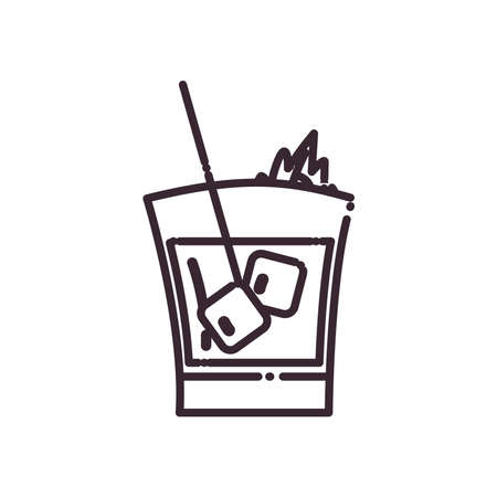 Cocktail glass with ice cubes and straw line style icon design, Alcohol drink bar and beverage theme Vector illustration Ilustracja