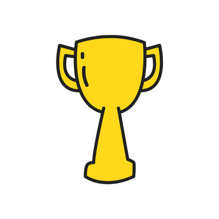Trophy line and fill style icon design, Winner first position and competition theme Vector illustration
