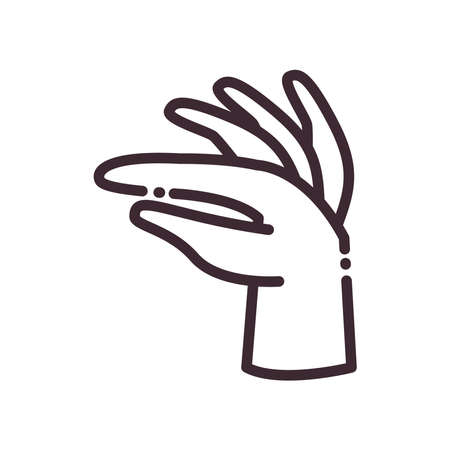 gesture with hand line style icon design of People arm finger person learn communication healthcare theme Vector illustration Ilustracja