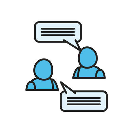Avatars with communication bubbles line and fill style icon design, Message discussion conversation and chatting theme Vector illustration