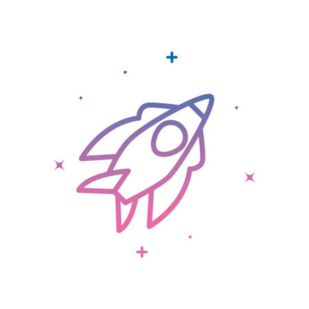 Rocket gradient style icon of Space futuristic cosmos and universe theme Vector illustration