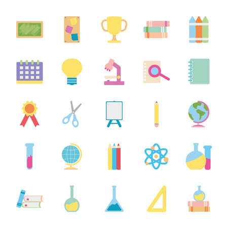 icon set of geography tool and back to school over white background, flat style, vector illustration