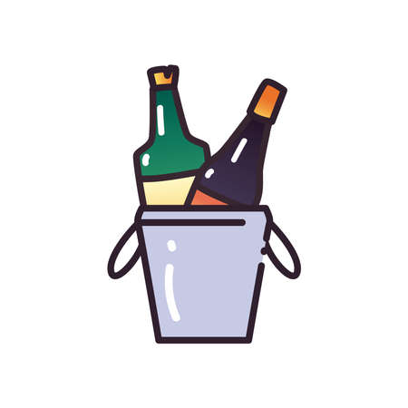 alcohol bottles inside bucket fill and gradient style icon design, drink bar and beverage theme Vector illustration