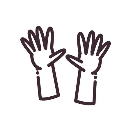 open gesture with hands line style icon design of People arm finger person learn communication healthcare theme Vector illustration
