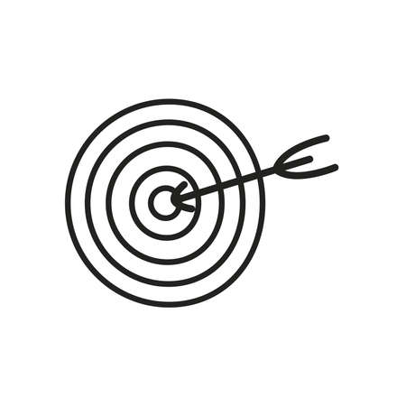 Target with arrow line style icon design, Solution success strategy idea problem innovation creativity inspiration and intelligence theme Vector illustration