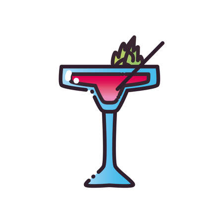 Cocktail glass cup with leaf and straw fill and gradient style icon design, Alcohol drink bar and beverage theme Vector illustration Ilustracja