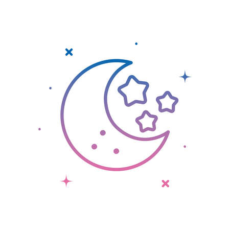Moon with stars gradient style icon of night bedtime sky space moonlight nature light lunar and science theme Vector illustration