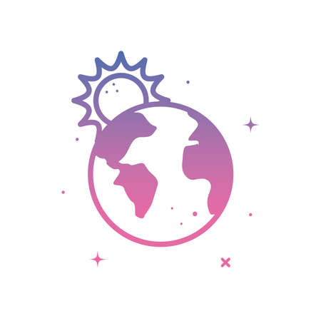 World sphere with sun gradient style icon design, Planet continent earth and globe theme Vector illustration