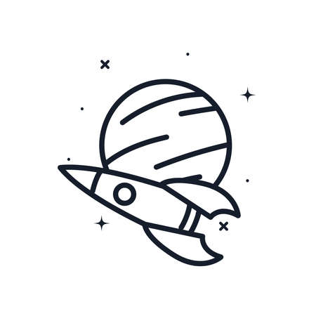Rocket and planet line style icon of Space futuristic cosmos and universe theme Vector illustration