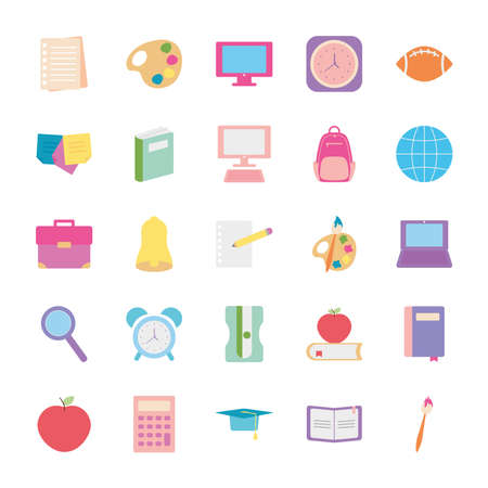 bell and back to school icon set over white background, flat style, vector illustration Ilustracja